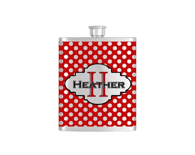 Polka Dot Personalized Bridesmaid Flask Bottoms Up Flasks Stainless Steel Whiskey Flask - Flask# 353