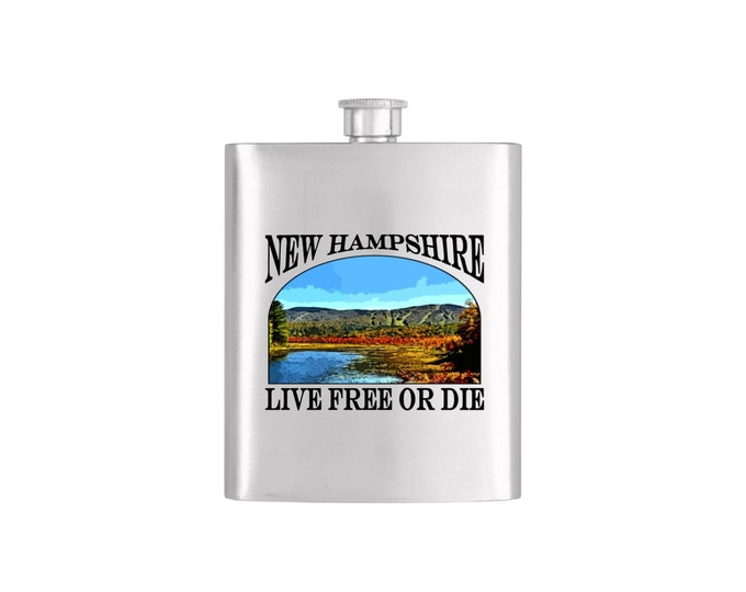 New Hampshire Ragged Mountain Live Free or Die Flask - Stainless Steel 7 oz Liquor Hip Flask - Flask# 323