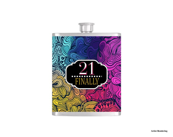 21 Finally Birthday Flask By Bottoms Up Flasks  - Stainless Steel 7 oz Liquor Hip Flasks - Flask #309