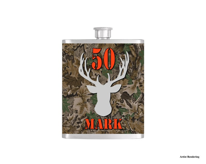 Over The Hill 50th Deer Camoflauge Hunter Orange Birthday Flask By Bottoms Up Flasks  - Stainless Steel 7 oz Liquor Hip Flasks - Flask #297
