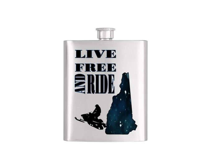 Live Free and Ride New Hampshire  with FREE Funnel-  Bachelor Party Mens  Stainless Steel 7 oz Liquor Hip Flasks - Flask #115