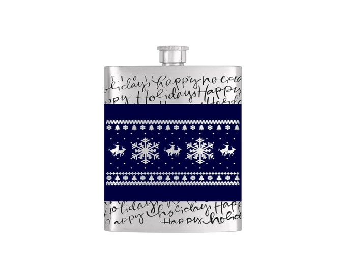 Reindeer Humping Silhouette Christmas Holiday Flask By Bottoms Up Flasks  - Stainless Steel 7 oz Liquor Hip Flasks - Flask #334