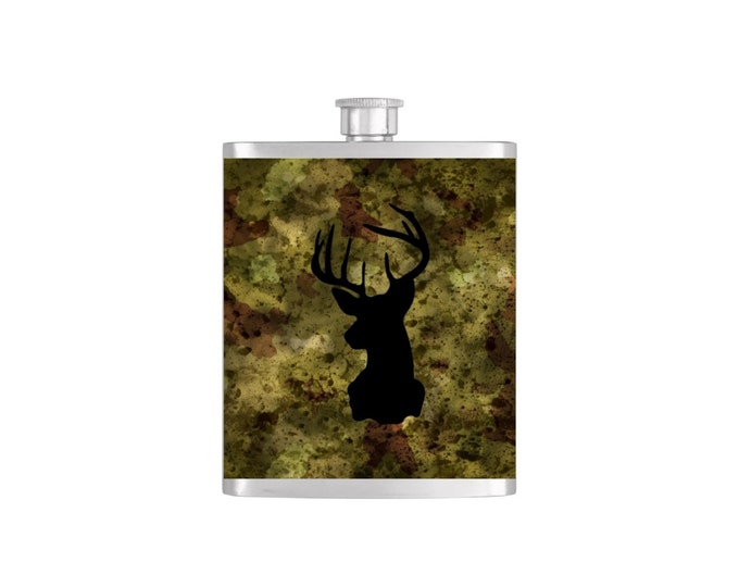 Deer Silhouette Whiskey Flask Camoflauge Buck Outdoorsmen Dad Groomsmen Guys Men Stainless Steel 7 oz Liquor Hip Flasks - Flask #93