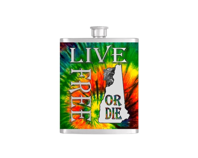 Live Free or Die New Hampshire Old Man of the Mountain with FREE Funnel - Mens Stainless Steel 7 oz Liquor Hip Flasks - Flask #246