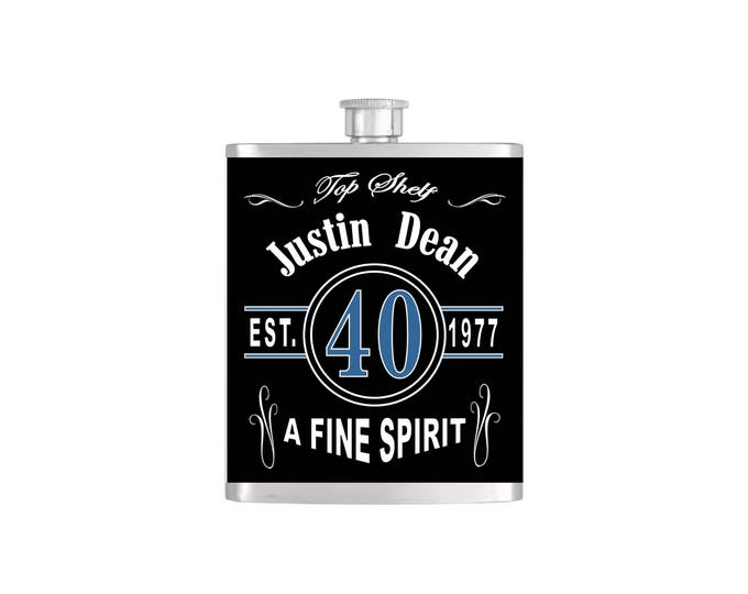 Over The Hill 40th Birthday Flask By Bottoms Up Flasks  - Stainless Steel 7 oz Liquor Hip Flasks - Flask #288