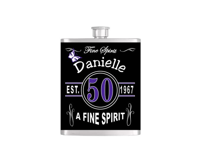 Over The Hill 50th Vintage Chic Birthday Flask By Bottoms Up Flasks  - Stainless Steel 7 oz Liquor Hip Flasks - Flask #367