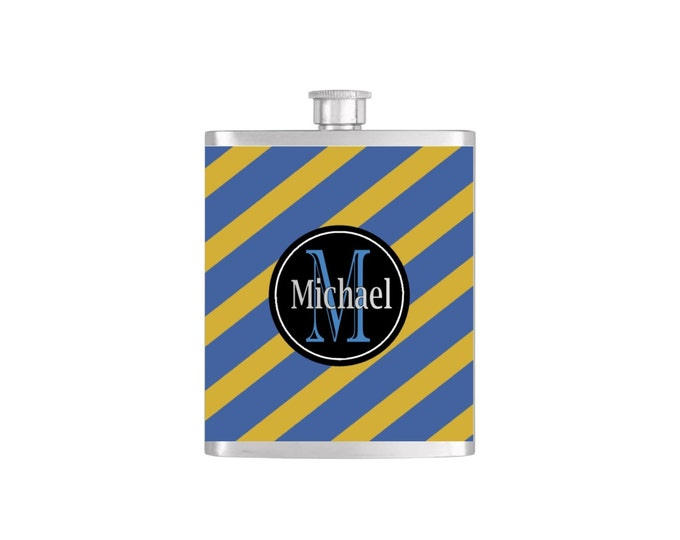 Monogram Personalized Strip Groomsmen Flask By Bottoms Up Flasks with Funnel Stainless Steel 7 oz Liquor Hip Flasks - Flask #237