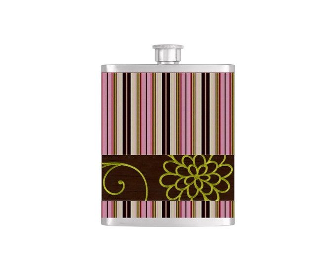Brown and Pink Stripe Pattern Bridesmaids Gifts - Stainless Steel 7oz Liquor Hip Flasks - Flask #190