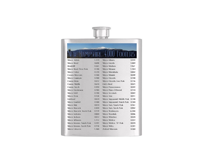 New Hampshire 4000 Footers List Flask or   - *** FREE FUNNEL INCLUDED *** Stainless Steel 7 oz Liquor Hip Flask - Flask#34