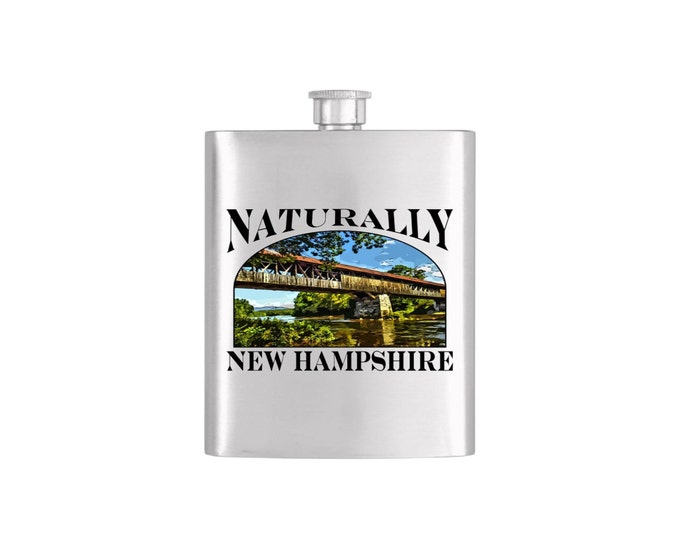 Naturally New Hampshire Blair Bridge Flask - Stainless Steel 7 oz Liquor Hip Flask - Flask#Blair Bridge