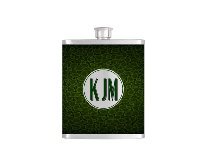 Personalized Flask Name Monogram on Green Leaf Pattern Wallpaper Bridesmaid Gift - Stainless Steel 7oz Liquor Hip Flask - Flask#15
