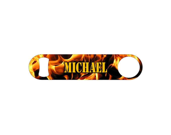Fire Flame Firemens Personalized Groomsmen Wedding Gift Bottle Opener / Bar Blade By Bottoms Up Flasks  - Stainless Steel - BtlOpener #46