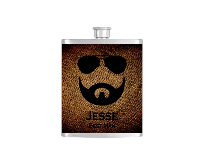 Aviator and Beard Wedding Party Flask *** FREE FUNNEL INCLUDED *** - Flask#5