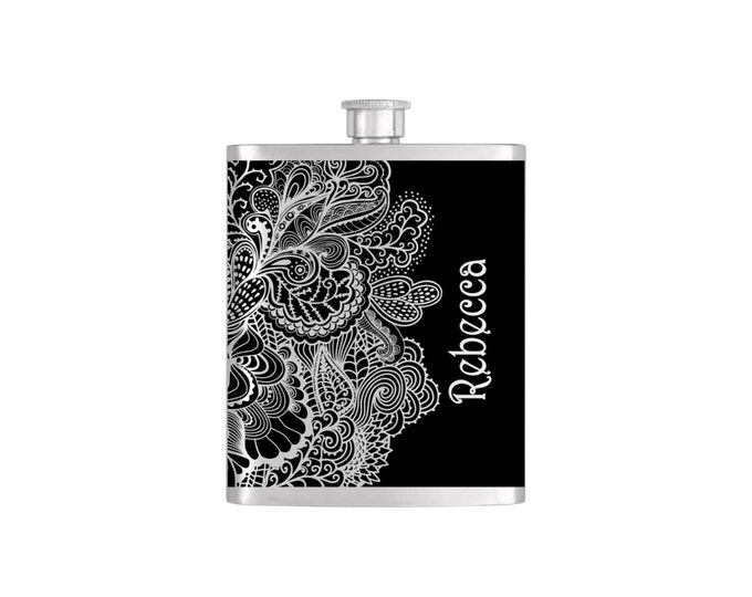 Elegant  Paisley Print Black and White Flask Bridesmaid Gift By Bottoms Up Flasks- Stainless Steel 7oz  - Flask #342