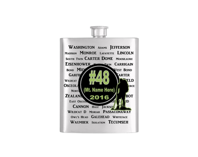 New Hampshire 4000 Footers List #48 Mountain Finish  Flask or   -  Stainless Steel Hip Flask - Flask#401