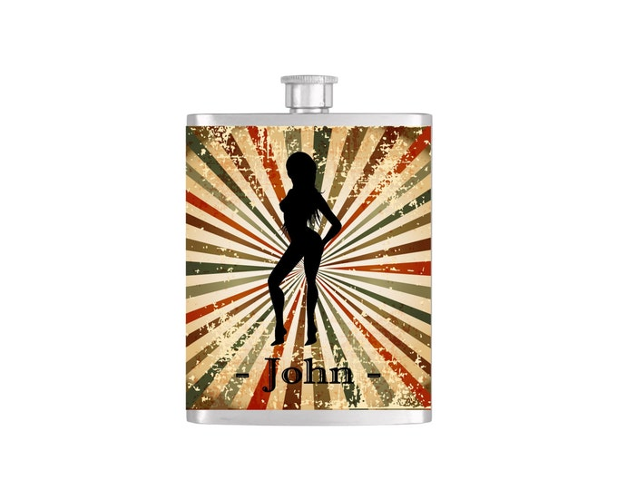 Mens Batchelor Party Personalized Groomsmen Guy's Flask By Bottoms Up Flasks - Stainless Steel 7 oz Liquor Hip Flasks - Flask #276