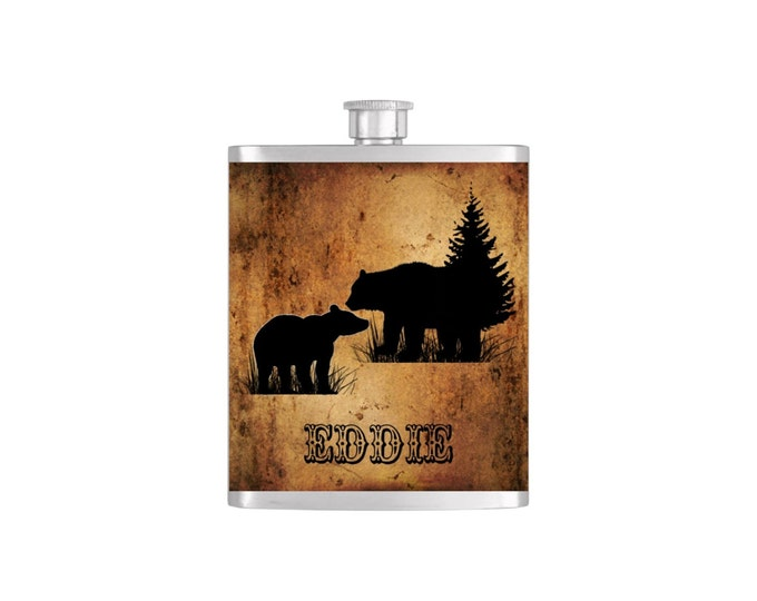 Personalized Bear Groomsmen Guy's Flask  - Stainless Steel 7 oz Liquor Hip Flasks - Flask #222