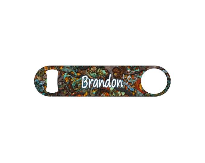 Steampunk Gears Personalized Bridesmaid Wedding Gift Bottle Opener / Bar Blade By Bottoms Up Flasks  - Stainless Steel - BtlOpener #35