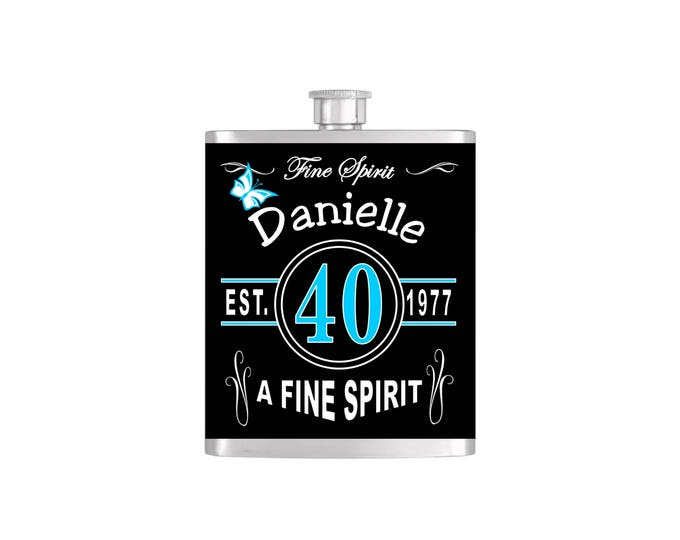 Over The Hill 40th Vintage Chic Birthday Flask By Bottoms Up Flasks  - Stainless Steel 7 oz Liquor Hip Flasks - Flask #366