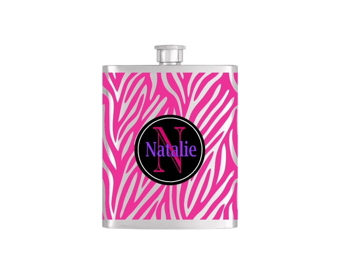 Personalized Animal Zebra Print  Monogram Bridesmaid Flask with Funnel Stainless Steel 7oz Liquor Hip Flasks - Flask #230