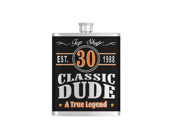 Classic Dude, Vintage Dude, Old Dude Over The Hill 30th Birthday Flask - Stainless Steel 7 oz Liquor Hip Flasks - Flask #405