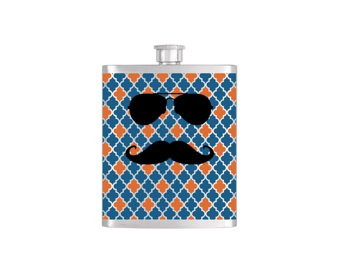 Personalized Aviator & Moustache Groomsmen Guy's Moroccan Flask  - Stainless Steel 7 oz Liquor Hip Flasks - Flask #225