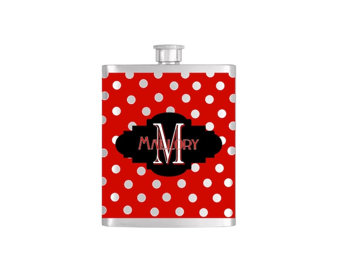 Personalized Flask Name Monogram Polka Dot Pattern Custom Color Bridesmaids Gifts - Stainless Steel 7oz Liquor Hip Flasks - Flask #170