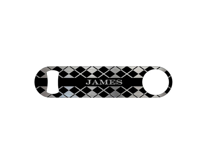 Argyle Personalized Groomsmen Wedding Gift Bottle Opener / Bar Blade By Bottoms Up Flasks  - Stainless Steel - BtlOpener #42