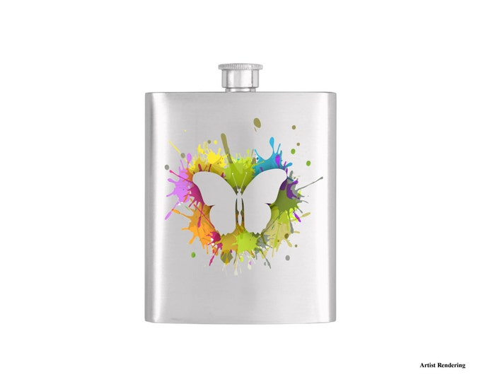 Paint Splatter Butterfly Personalized Flask By Bottoms Up Flasks  - Stainless Steel 7oz Liquor Hip Flasks - Flask #294