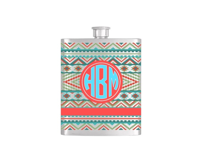 Aztec Southwestern Monogram Personalized Flask By Bottoms Up Flasks  - Stainless Steel 7oz Liquor Hip Flasks - Flask #394