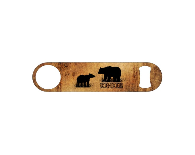Rustic Bear Personalized Bottle Opener / Bar Blade By Bottoms Up Flasks  - Stainless Steel - BtlOpener #8