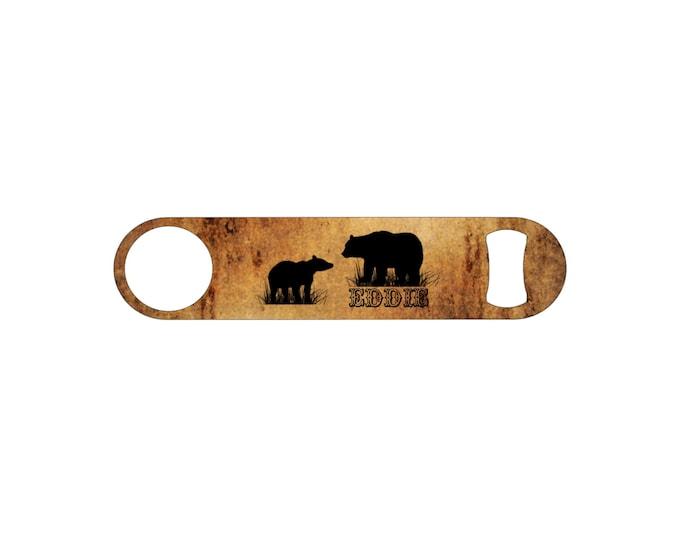 Rustic Bear Personalized Bottle Opener / Bar Blade By Bottoms Up Flasks  - Stainless Steel - BtlOpener #8