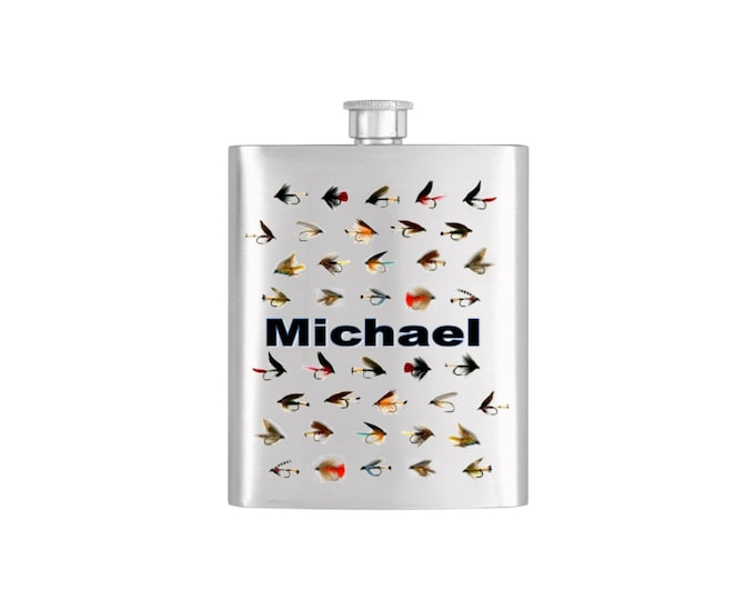 Fly Fishing Groomsmen Flask Pwersonalized Stainless Steel Whiskey Flask - Flask# 348