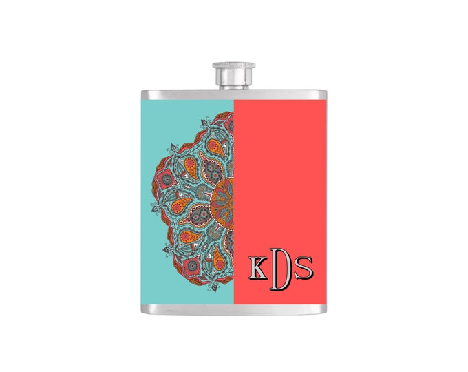 Aqua and Salmon Paisley Monogram Flask Bridesmaid Gift By Bottoms Up Flasks- Stainless Steel 7oz  - Flask #252