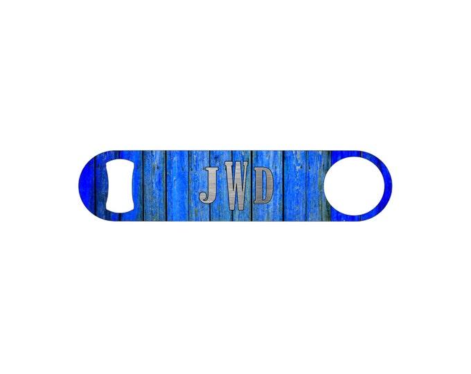 Blue Wood Board Monogram Wedding Personalized Bottle Opener / Bar Blade By Bottoms Up Flasks  - Stainless Steel - BtlOpener #33