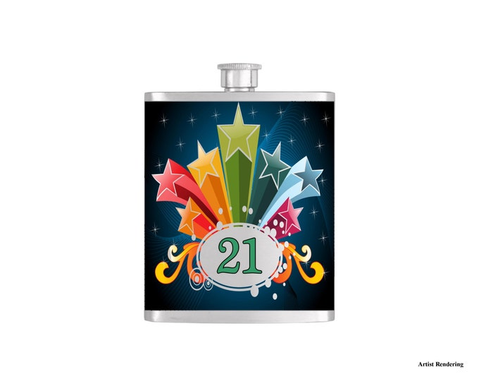It's My Birthday Stars and Stipes Flask By Bottoms Up Flasks  - Stainless Steel 7 oz Liquor Hip Flasks - Flask #301