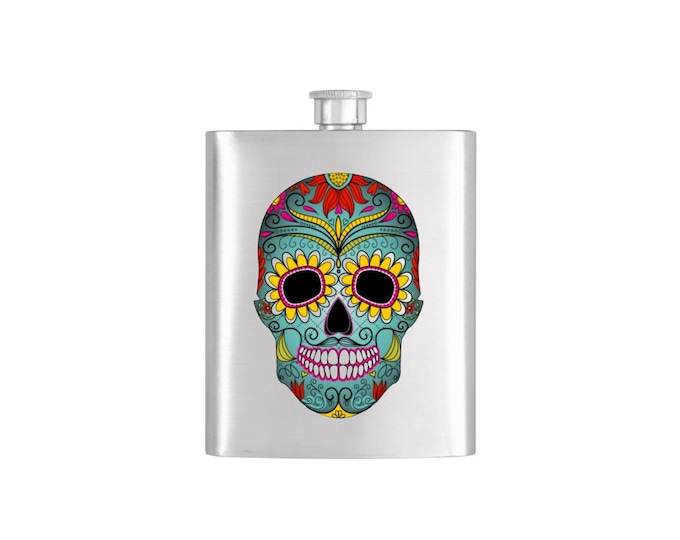 Fully Color Tribal Skull Flask By Bottoms Up Flasks  - Stainless Steel 7oz Liquor Hip Flasks - Flask #269