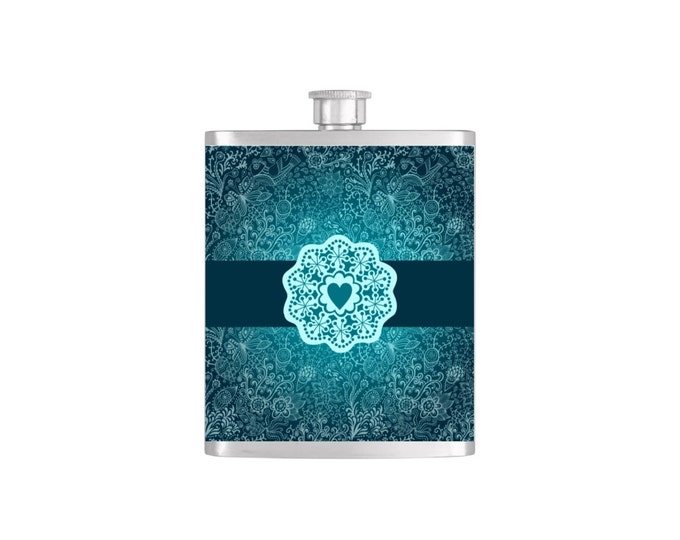 Elegant  Blue/Teal Heart Shape in Center Flask Bridesmaid Gift By Bottoms Up Flasks- Stainless Steel 7oz  - Flask #253