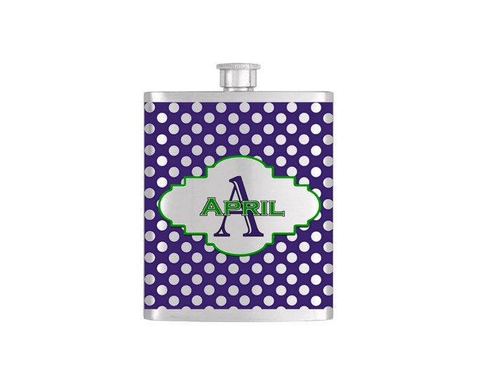 Polka Dot Personalized Bridesmaid Flask Bottoms Up Flasks Stainless Steel Whiskey Flask - Flask# 352