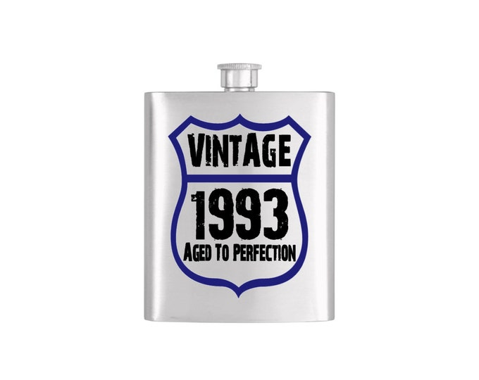 Vintage Birth Year Aged To Perfection Flask with Funnel Stainless Steel 7 oz Liquor Hip Flasks - Flask #129