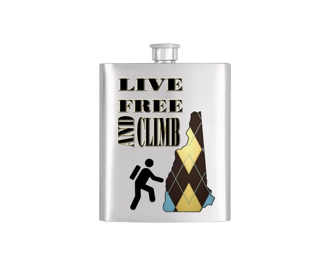 Live Free and Climb New Hampshire *** FREE FUNNEL INCLUDED *** -  Bachelor Party Mens  Stainless Steel 7 oz Liquor Hip Flasks - Flask #114