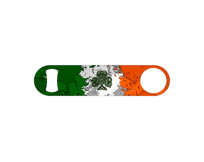 Rustic Irish Flag with Celtic Clover Bottle Opener / Bar Blade By Bottoms Up Flasks  - Stainless Steel - BtlOpener #4