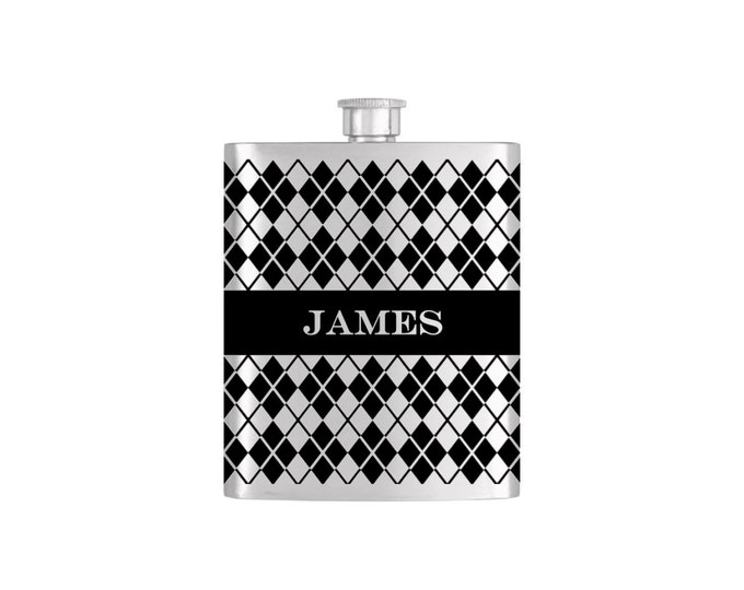 Black Argyle Groomsmen Best Man Flask Bottoms Up Custom Flasks Personalized Stainless Steel Whiskey Flask - Flask# 372