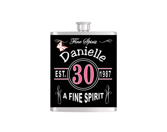 Over The Hill 30th Vintage Chic Birthday Flask By Bottoms Up Flasks  - Stainless Steel 7 oz Liquor Hip Flasks - Flask #365