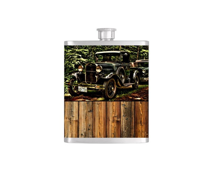 Moonshine Old Truck Groomsmen Guy's Flask By Bottoms Up Flasks - Stainless Steel 7 oz Liquor Hip Flasks - Flask #257