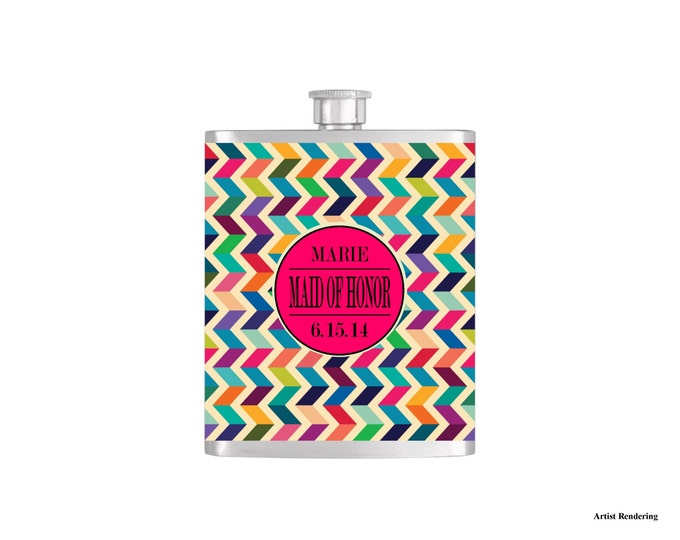 Personalized Flask Name Monogram on Multicolor Chevron Pattern Bridesmaid Gift - Stainless Steel 7 oz Liquor Hip Flask - Flask#33