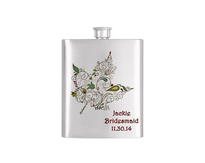 Elegant Fall Leaf Bridal Party Batchelorette Flask with Funnel Stainless Steel 7oz Liquor Hip Flasks - Flask #324