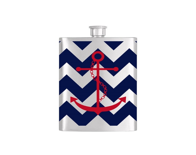Nautical Red Anchor on Navy Blue Chevron PatternBridesmaid Gift - Stainless Steel 7oz Liquor Hip Flask - Flask#23