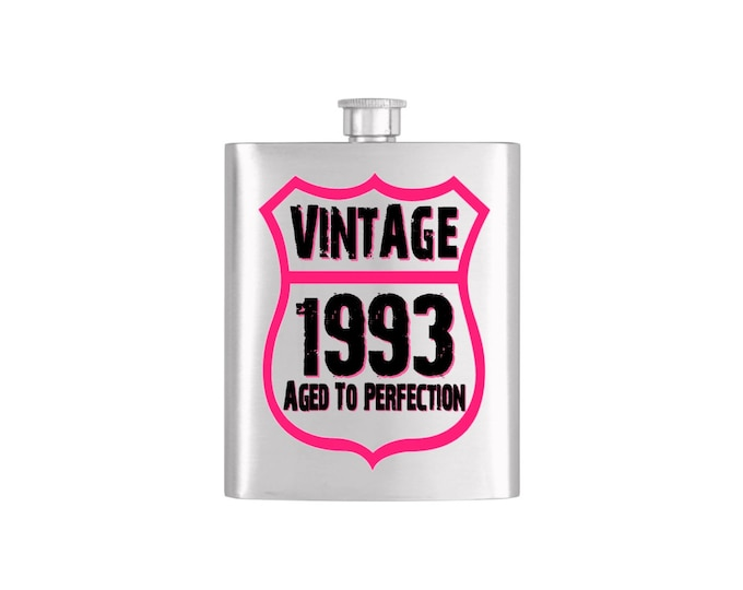 Vintage Birth Year Aged To Perfection Flask with Funnel Stainless Steel 7 oz Liquor Hip Flasks - Flask #128