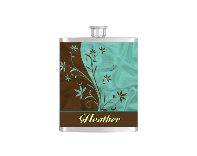 Personalized Brown and Teal Pattern Custom Color Bridesmaids Gifts - Stainless Steel 7oz Liquor Hip Flasks - Flask #186